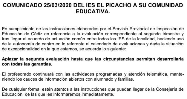 Comunicado 25-03-2020
